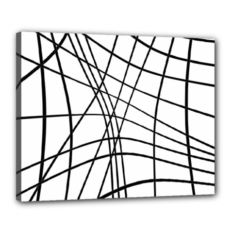 Black And White Decorative Lines Canvas 20  X 16  by Valentinaart