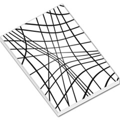 Black And White Decorative Lines Large Memo Pads by Valentinaart
