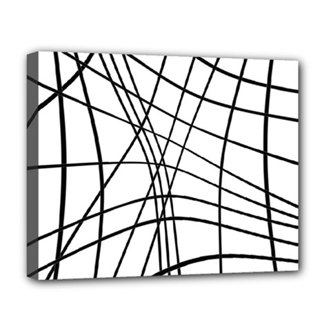 Black And White Decorative Lines Deluxe Canvas 20  X 16   by Valentinaart