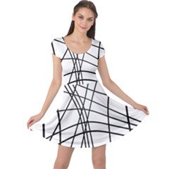 Black And White Decorative Lines Cap Sleeve Dresses by Valentinaart