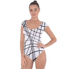 Black And White Decorative Lines Short Sleeve Leotard  by Valentinaart