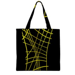 Yellow Abstraction Zipper Grocery Tote Bag by Valentinaart
