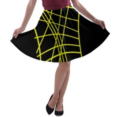 Yellow Abstraction A Line Skater Skirt by Valentinaart