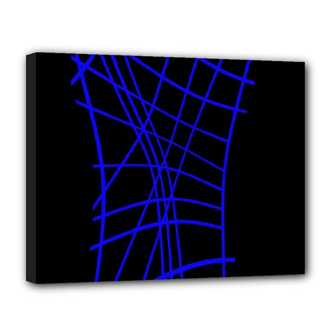 Neon Blue Abstraction Canvas 14  X 11  by Valentinaart