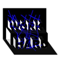 Neon Blue Abstraction Work Hard 3d Greeting Card (7x5)