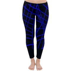 Neon Blue Abstraction Winter Leggings  by Valentinaart