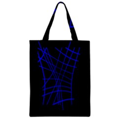 Neon Blue Abstraction Zipper Classic Tote Bag by Valentinaart