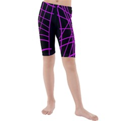 Neon Purple Abstraction Kid s Mid Length Swim Shorts by Valentinaart
