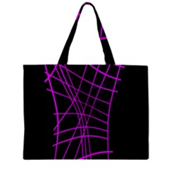 Neon Purple Abstraction Zipper Mini Tote Bag by Valentinaart