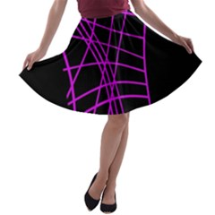 Neon Purple Abstraction A Line Skater Skirt by Valentinaart