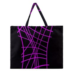 Neon Purple Abstraction Zipper Large Tote Bag by Valentinaart