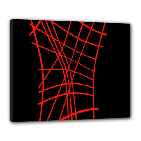 Neon Red Abstraction Canvas 20  X 16  by Valentinaart
