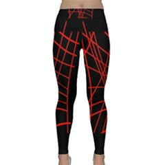 Neon Red Abstraction Yoga Leggings by Valentinaart