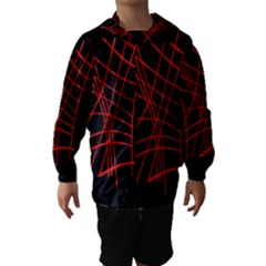 Neon Red Abstraction Hooded Wind Breaker (kids) by Valentinaart