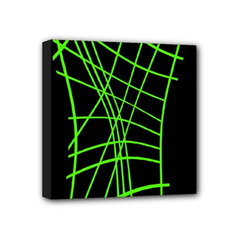 Green Neon Abstraction Mini Canvas 4  X 4  by Valentinaart