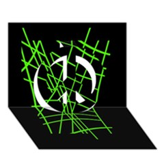 Green Neon Abstraction Peace Sign 3d Greeting Card (7x5)