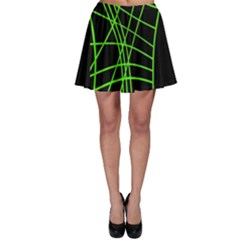Green Neon Abstraction Skater Skirt by Valentinaart
