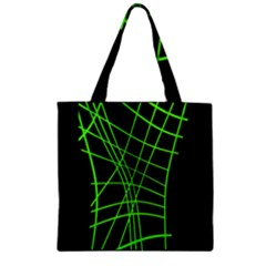 Green Neon Abstraction Zipper Grocery Tote Bag by Valentinaart