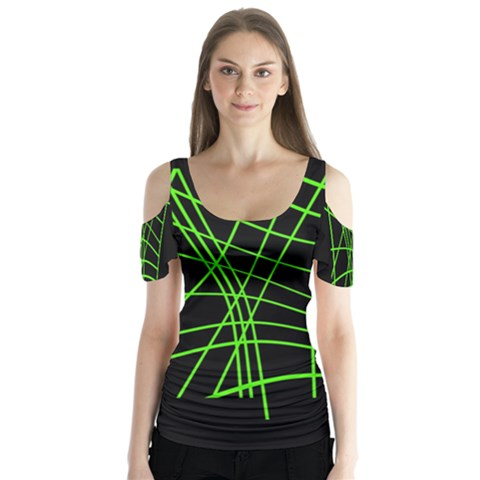 Green Neon Abstraction Butterfly Sleeve Cutout Tee  by Valentinaart