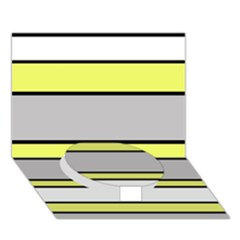 Yellow And Gray Lines Circle Bottom 3d Greeting Card (7x5)  by Valentinaart