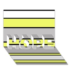 Yellow And Gray Lines Hope 3d Greeting Card (7x5)  by Valentinaart