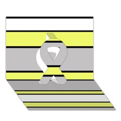Yellow And Gray Lines Ribbon 3d Greeting Card (7x5)  by Valentinaart