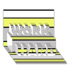 Yellow And Gray Lines Work Hard 3d Greeting Card (7x5)  by Valentinaart