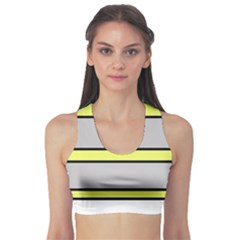 Yellow And Gray Lines Sports Bra by Valentinaart