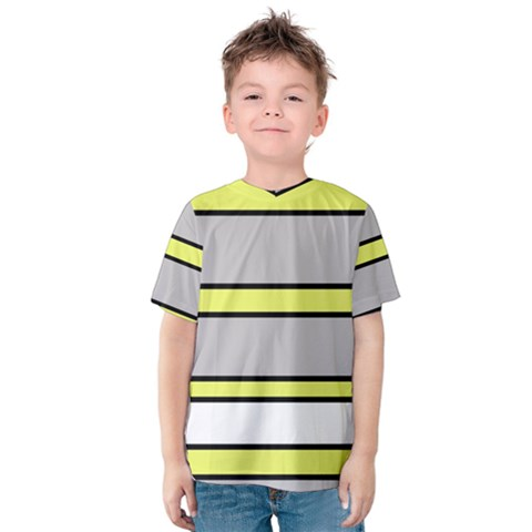 Yellow And Gray Lines Kid s Cotton Tee by Valentinaart