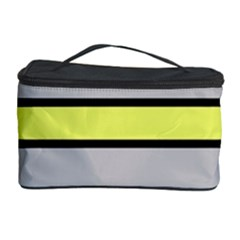 Yellow And Gray Lines Cosmetic Storage Case by Valentinaart