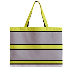 Yellow And Gray Lines Zipper Mini Tote Bag by Valentinaart