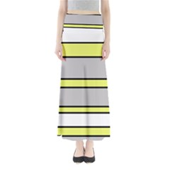 Yellow And Gray Lines Maxi Skirts