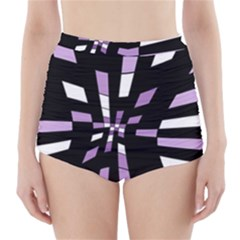 Purple Abstraction High-waisted Bikini Bottoms by Valentinaart