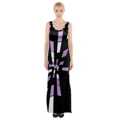 Purple Abstraction Maxi Thigh Split Dress by Valentinaart