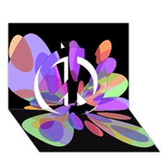 Colorful Abstract Flower Peace Sign 3d Greeting Card (7x5)  by Valentinaart