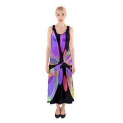 Colorful Abstract Flower Sleeveless Maxi Dress by Valentinaart