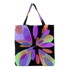 Colorful Abstract Flower Grocery Tote Bag by Valentinaart