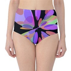Colorful Abstract Flower High-waist Bikini Bottoms by Valentinaart