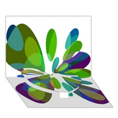Green Abstract Flower Heart Bottom 3d Greeting Card (7x5)