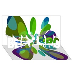 Green Abstract Flower Best Bro 3d Greeting Card (8x4)  by Valentinaart
