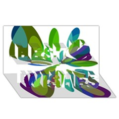 Green Abstract Flower Best Wish 3d Greeting Card (8x4)  by Valentinaart