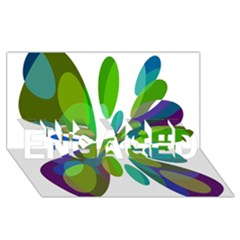 Green Abstract Flower Engaged 3d Greeting Card (8x4)  by Valentinaart