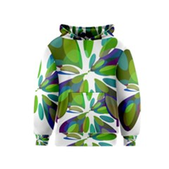 Green Abstract Flower Kids  Pullover Hoodie by Valentinaart