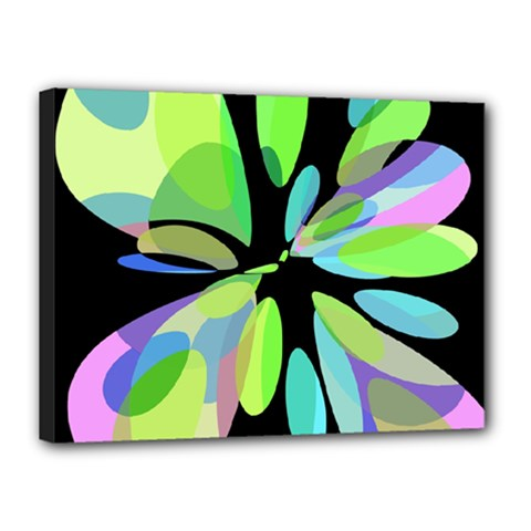 Green Abstract Flower Canvas 16  X 12  by Valentinaart