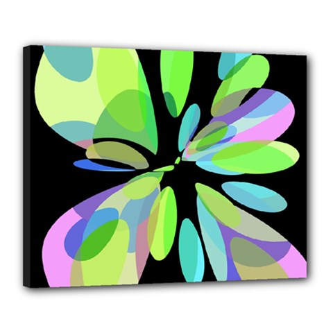 Green Abstract Flower Canvas 20  X 16  by Valentinaart