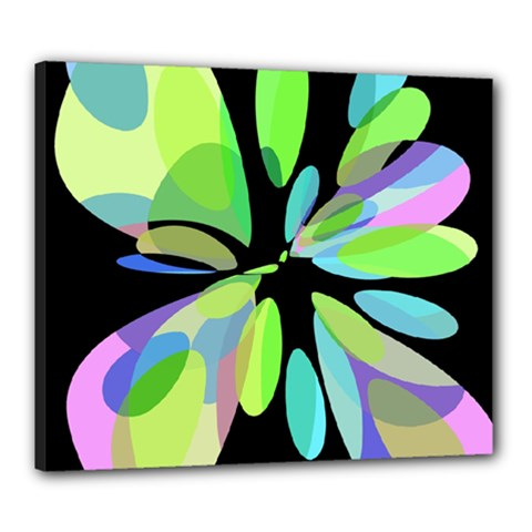 Green Abstract Flower Canvas 24  X 20  by Valentinaart