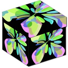 Green Abstract Flower Storage Stool 12   by Valentinaart