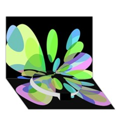 Green Abstract Flower Circle Bottom 3d Greeting Card (7x5)