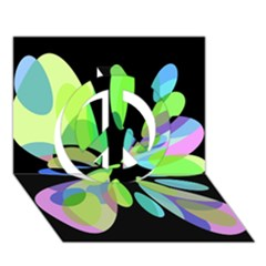Green Abstract Flower Peace Sign 3d Greeting Card (7x5)  by Valentinaart