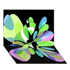 Green Abstract Flower Ribbon 3d Greeting Card (7x5)  by Valentinaart